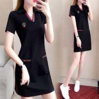 Dress Summer 2020 White, black L,XL,2XL,3XL,4XL Mid length dress singleton  Short sleeve commute V-neck stripe Pencil skirt routine pocket 91% (inclusive) - 95% (inclusive) other