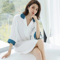 Pajamas / housewear set female Beauty spring Average size White (dolphin print), blue (dolphin print) Polyester (polyester) Middle sleeve sexy pajamas summer Thin money Small lapel other More than 95% silk CS2443-2407