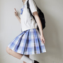 skirt Summer 2020 XS,S,M,L,XL The southern snow is 42cm, and the southern snow is 45cm Short skirt Versatile Natural waist Pleated skirt lattice Type A 18-24 years old More than 95% other fold 201g / m ^ 2 (including) - 250G / m ^ 2 (including)
