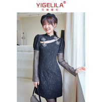 Dress Spring 2021 black S M L Short skirt singleton  Long sleeves commute stand collar High waist Solid color zipper A-line skirt routine 18-24 years old Type A Yigelila lady More than 95% polyester fiber Polyester 100%