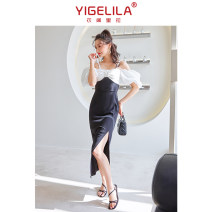 Dress Summer 2021 Black and white stitching S M L longuette singleton  Short sleeve commute One word collar High waist Solid color zipper One pace skirt routine camisole 25-29 years old Type H Yigelila lady zipper More than 95% polyester fiber Polyester 100% Pure e-commerce (online only)