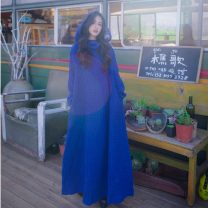 Dress Autumn of 2019 blue Average size Mid length dress singleton  Long sleeves commute Hood Loose waist Socket Type A ethnic style