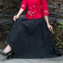 skirt Spring 2021 Average size black longuette Retro Natural waist Splicing style Solid color Type A 81% (inclusive) - 90% (inclusive) hemp