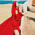 Dress Summer 2020 Red tassel dress, shawl, Turquoise Pendant, waist chain S,M,L longuette singleton  Long sleeves commute High waist Socket Type A Retro