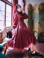 Dress Autumn 2020 claret S,M,L,XL longuette singleton  Long sleeves commute High waist Solid color Socket Big swing bishop sleeve Type X Retro Ruffles, lace 71% (inclusive) - 80% (inclusive)