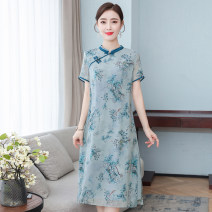 Dress Spring 2021 Purple, blue M,L,XL,2XL,3XL Mid length dress singleton  Short sleeve commute stand collar middle-waisted Decor Socket routine Others 30-34 years old Type A ethnic style printing 31% (inclusive) - 50% (inclusive) other