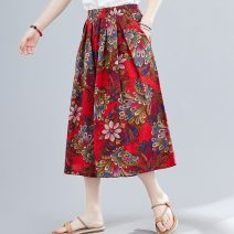 Casual pants Red, Navy Average size Summer 2021 Cropped Trousers Wide leg pants low-waisted commute routine 51% (inclusive) - 70% (inclusive) Retro printing and dyeing