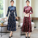 Middle aged and old women's wear Spring 2021 Blue plum, red plum M,L,XL,XXL,XXXL ethnic style Dress Self cultivation singleton  Flower and bird pattern 50-59 years old Socket moderate stand collar Medium length routine Button polyester Medium length Polyester other