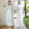 Lace / Chiffon Summer 2021 White, green, matching skirt (elastic waist, one size only) M,L,XL three quarter sleeve commute Cardigan singleton  Medium length stand collar routine Button Retro 51% (inclusive) - 70% (inclusive)