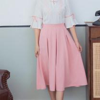 skirt Summer 2021 M,XL Blue skirt, pink skirt, green skirt Mid length dress Versatile Natural waist Pleated skirt Solid color Type H 18-24 years old 51% (inclusive) - 70% (inclusive) Chiffon fold