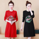 Women's large Spring 2021 Red, black Large XL, large XXL, large XXL, large XXXXL, large L, M Dress singleton  commute Self cultivation moderate Socket Long sleeves Solid color ethnic style Crew neck Medium length routine 25-29 years old Embroidery 71% (inclusive) - 80% (inclusive) Medium length other