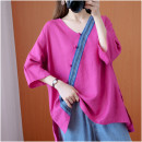 Women's large Summer 2021 rose red Big size average shirt singleton  commute moderate Socket elbow sleeve Solid color Retro routine cotton routine Other / other