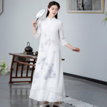 Dress Summer 2021 Mid length dress singleton  Long sleeves commute stand collar Loose waist Socket routine Type A ethnic style printing 71% (inclusive) - 80% (inclusive) Chiffon