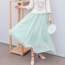 skirt Summer 2021 Average size Green skirt, pink skirt Mid length dress Versatile Natural waist Pleated skirt Solid color Type A 25-29 years old 71% (inclusive) - 80% (inclusive) Chiffon