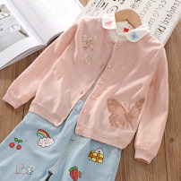 Sweater / sweater cotton female Pink butterfly, pink strawberry jollitown leisure time No model Single breasted Thin money Crew neck nothing Fine wool Solid color Cotton 95% other 5% Class B Three, four, five, six, seven, eight, nine, ten, eleven Chinese Mainland