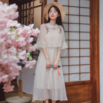Dress Summer 2020 Apricot, purple pink, bean green S,M,L Miniskirt Two piece set Short sleeve commute Crew neck middle-waisted Solid color zipper other pagoda sleeve camisole 18-24 years old Type A literature 5257# 81% (inclusive) - 90% (inclusive) other