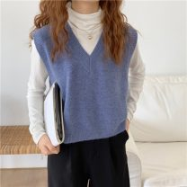 sweater Autumn 2020 Average size Apricot, gray, white, green, blue, yellow, black Sleeveless Socket have cash less than that is registered in the accounts acrylic fibres 95% and above V-neck Thin money commute Solid color Coarse wool Keep warm and warm