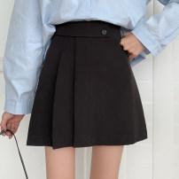 skirt Spring 2021 S,M,L black Short skirt commute Natural waist A-line skirt Solid color Type A other pocket Korean version