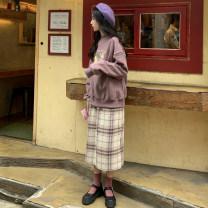 Fashion suit Autumn 2020 Average size Apricot (2135), purple (2135), skirt (2136) 30% and below cotton