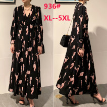 Women's large Spring 2021 black Large XL, large XXL, large XXL, large XXXXL, large XXXXL Dress singleton  street Straight cylinder moderate Socket Long sleeves Abstract pattern square neck Medium length polyester fiber printing and dyeing routine longuette other Europe and America