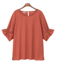 Women's large Summer 2020 Red, yellow Large L, large XL, large 2XL, large 3XL, large 4XL shirt singleton  commute easy moderate Socket elbow sleeve Solid color Simplicity Crew neck have cash less than that is registered in the accounts cotton fold raglan sleeve 96% and above