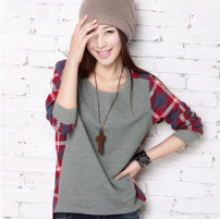 T-shirt grey S,M,L,XL,2XL Fall 2017 Long sleeves High collar easy Regular routine commute cotton 31% (inclusive) - 50% (inclusive) 18-24 years old Korean version Plaid, color matching, splicing Other / other Splicing