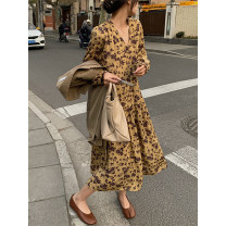 Dress Spring 2021 Deciduous yellow Average size longuette singleton  Long sleeves commute V-neck High waist Broken flowers Single breasted A-line skirt puff sleeve Others 18-24 years old Type A Other / other Korean version Fold, strap, button, lining More than 95% other polyester fiber