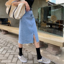 skirt Summer 2020 S,M,L,XL Denim blue Mid length dress commute High waist Denim skirt Solid color Type A 18-24 years old More than 95% Denim Other / other cotton Pocket, button, zipper Korean version