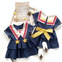 Dress navy blue female Other / other 90cm,100cm,110cm,120cm,130cm Cotton 100% cotton Princess Dress 12 months, 9 months, 18 months, 2 years old, 3 years old, 4 years old, 5 years old, 6 years old, 7 years old, 8 years old, 9 years old, 10 years old, 11 years old, 12 years old, 13 years old
