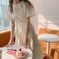 Dress Summer 2021 Light yellow, blue S,M,L longuette singleton  Short sleeve commute Crew neck High waist Solid color Socket other routine Others 18-24 years old Type H Korean version 91% (inclusive) - 95% (inclusive) Chiffon cotton