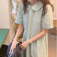 Dress Summer 2021 Light green Average size Mid length dress singleton  Short sleeve commute Doll Collar Loose waist Solid color Socket Big swing routine Others 18-24 years old Type H Korean version fold 51% (inclusive) - 70% (inclusive) cotton