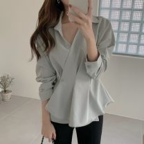 shirt blue S,M,L Spring 2021 other 96% and above Long sleeves commute Regular V-neck routine Solid color 18-24 years old Self cultivation Korean version
