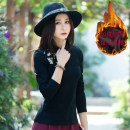 T-shirt Black 2.. 0 Plush M,L,XL,2XL,3XL,4XL Winter 2017 Long sleeves stand collar Self cultivation Regular routine commute cotton 86% (inclusive) -95% (inclusive) 25-29 years old ethnic style originality Plants and flowers Embroidery