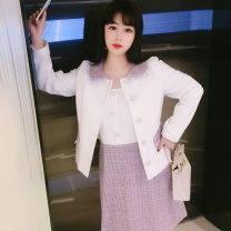 Women's large Spring 2021 white Large XL, large XXL, large L, large 3XL, large 4XL, large 5XL, large 6xl Other oversize styles Two piece set commute easy moderate Cardigan Long sleeves Korean version Half open collar polyester routine DM5227 Rama Uprising Button Middle-skirt