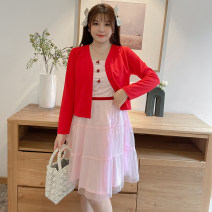 Women's large Spring 2021 Red + Pink Large XL, large XXL, large L, large 3XL, large 4XL, large 5XL, large 6xl Dress Two piece set commute easy moderate Socket lady other routine DM5263 Rama Uprising Gauze Middle-skirt Princess Dress