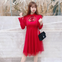 Women's large Winter 2020 gules Large XL, large XXL, large L, large 3XL, large 4XL, large 5XL, large 6xl Dress singleton  commute easy thick Socket Long sleeves Retro Half high collar polyester Three dimensional cutting Princess sleeve DM5139 Rama Uprising Embroidery Middle-skirt Princess Dress