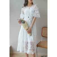 Dress Spring 2021 white M,L,XL longuette Two piece set elbow sleeve Sweet Crew neck L7336 More than 95% polyester fiber