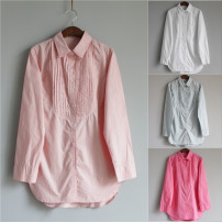 shirt White, rose, light blue, light pink Average size Autumn of 2019 cotton 96% and above Long sleeves Versatile Medium length Polo collar Single row multi button shirt sleeve Solid color Straight cylinder POU DOU DOU