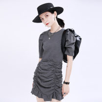 Dress Summer 2020 Black, dark grey S,M,L Middle-skirt singleton  Short sleeve street Crew neck middle-waisted Solid color Socket other puff sleeve Others 18-24 years old Type H Other / other 51% (inclusive) - 70% (inclusive) other cotton Europe and America