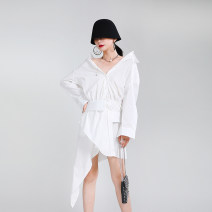 Dress Autumn 2020 White, Khaki Average size Mid length dress singleton  Long sleeves street V-neck Loose waist Solid color Single breasted Big swing routine Others 25-29 years old Type A Other / other Stitching, asymmetry, buttons 51% (inclusive) - 70% (inclusive) other cotton Europe and America