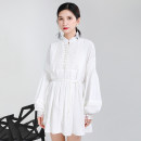 Dress Autumn 2020 white S,M,L Mid length dress singleton  Long sleeves street stand collar Loose waist Solid color Single breasted A-line skirt bishop sleeve Others 30-34 years old Type A Other / other Lace up, stitching 51% (inclusive) - 70% (inclusive) other cotton Europe and America