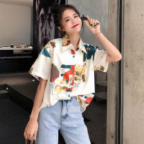 shirt Off white Average size Spring 2020 polyester fiber 51% (inclusive) - 70% (inclusive) Long sleeves commute Regular Polo collar Single row multi button routine Broken flowers 18-24 years old Straight cylinder Retro printing