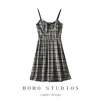 Dress Summer 2020 black S,M,L Middle-skirt singleton  Sleeveless commute square neck High waist Socket One pace skirt straps Retro