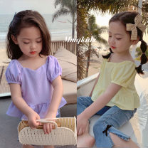 T-shirt Lavender purple, tulip yellow Maimaiqiu 80, 90, 100, model, 110, 120, 130, 140, 150 female summer Short sleeve Crew neck Korean version There are models in the real shooting nothing other Solid color Cotton 95% other 5% XA3236 Class B 2, 3, 4, 5, 6, 7, 8, 9, 10 years old Chinese Mainland