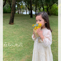 Dress Cream apricot female Maimaiqiu 80, 90, 100, model, 110, 120, 130, 140, 150 Other 100% spring and autumn lady Long sleeves Solid color cotton A-line skirt CA3079 Class B 2, 3, 4, 5, 6, 7, 8, 9, 10 years old