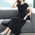 Dress Summer 2021 Black, green S,M,L,XL,2XL,3XL Mid length dress singleton  Short sleeve commute Crew neck middle-waisted stripe Socket Big swing routine Others 35-39 years old Type H Simplicity Bow tie 8591# More than 95% other other