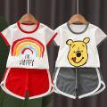 suit Youshan 80cm,90cm,100cm,110cm,120cm neutral summer Korean version Short sleeve + pants 2 pieces No model Socket stripe cotton TWDX001 Class A 3 years old Chinese Mainland