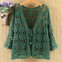 Lace / Chiffon Summer 2021 Dark green, elegant black, dark purple, navy blue, Beixing, natural white, denim blue, olive green Average size: 90kg to 140kg three quarter sleeve commute Cardigan singleton  easy Regular V-neck Solid color routine 25-29 years old YGN0075 Korean version 96% and above