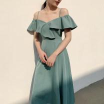 Dress Autumn of 2019 White, dark green, pink, Avocado Green, grayish blue XS,S,M,L Mid length dress singleton  High waist Solid color 18-24 years old D644 polyester fiber