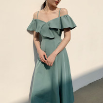 Dress Autumn of 2019 White, dark green, pink, Avocado Green, grayish blue XS,S,M,L Mid length dress singleton  High waist Solid color 18-24 years old D644 polyester fiber